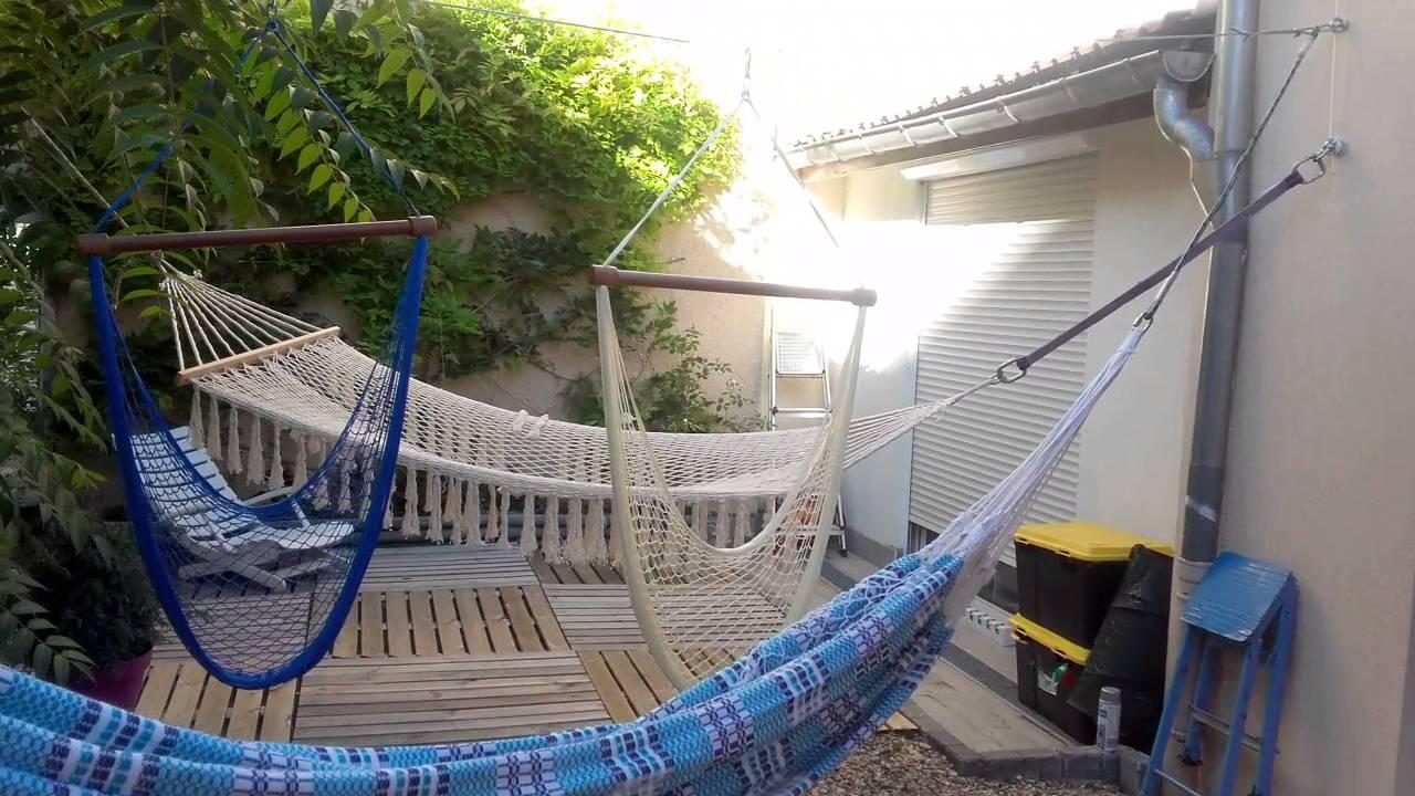 Comment Installer Un Hamac Sans Arbre installation hamacs - youtube