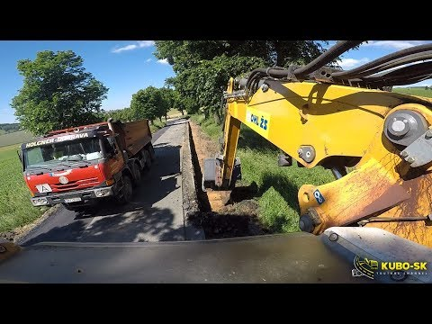 Liebherr A918 Excavator Digging Roadsides And Loading TATRA Truck - 6 Camera View