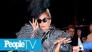 Lady Gaga Steps Out For The Pre-Met Gala Party In Voluminous Striped Mini Dress | PeopleTV