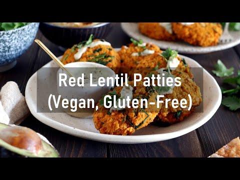 Red Lentil Patties With A Garlic-Herb Tahini Sauce (vegan, Gluten Free)