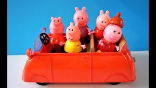 Five Little Peppa Jumping on the Car Bed - Peppa Nursery Song