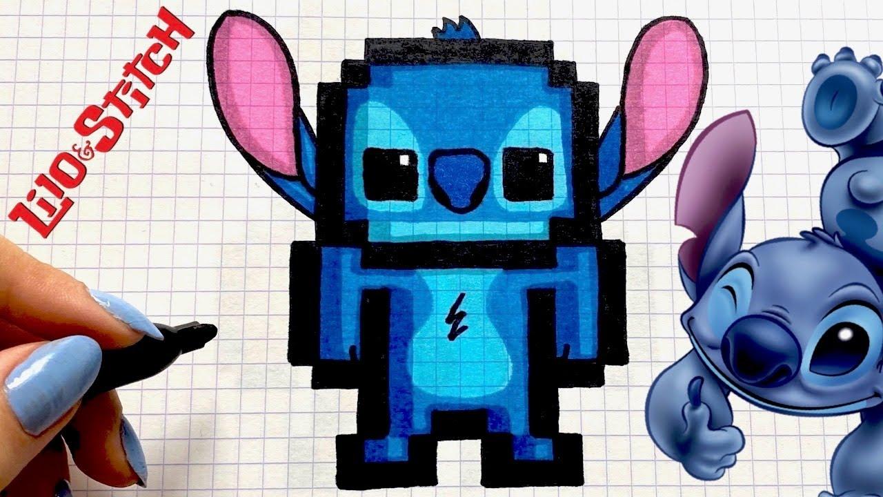 Wie Zeichnet Man Stitch Pixel Art Disney Youtube