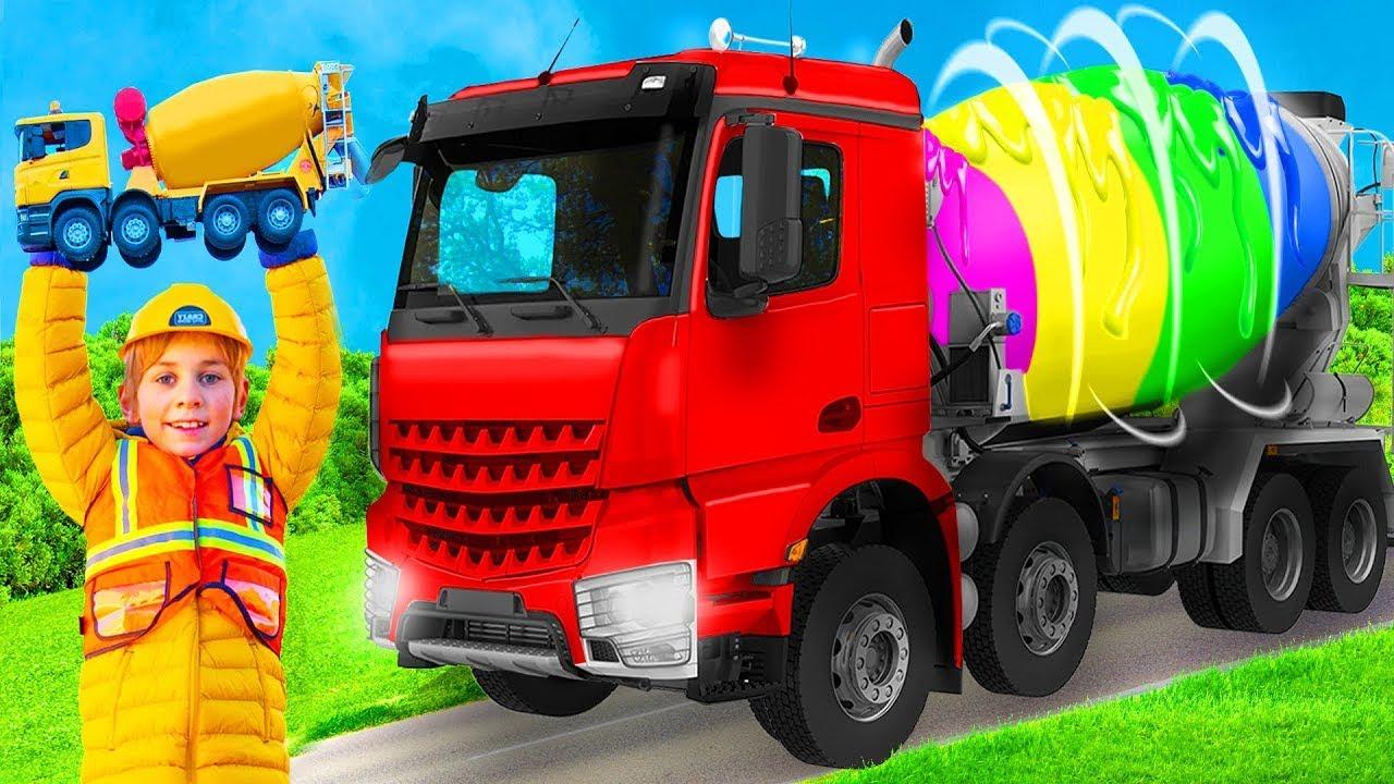 Çocuklar gerçek beton mikser kamyonu, ekskavatörler - Kids learn and play with concrete mixer truck