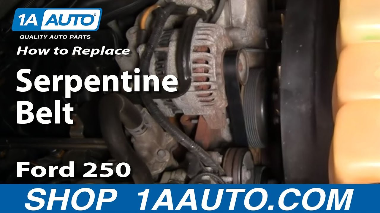how to replace serpentine belt 03 11 ford f250 super duty truck [ 1280 x 720 Pixel ]