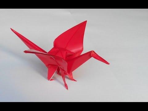 Как сделать оригами журавля с ножками, How to make an origami crane with legs.
