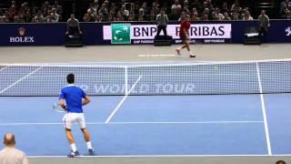 Novak Djokovic vs Gilles Simon - Court Level View HD