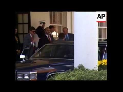 Soviet Union Foreign Minister Eduard Shevardnadze arrives at the White House for meeting with Presid