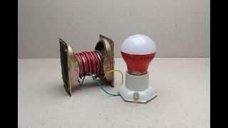 Free energy light bulb 12V in Speaker magnets generator -  at Home 2018