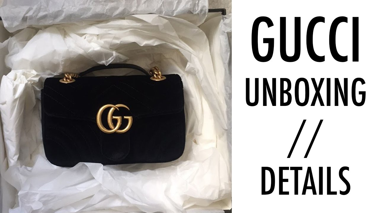 a6a3656dd8ce Unboxing Gucci GG Marmont Velvet Bag // Details Video - YouTube