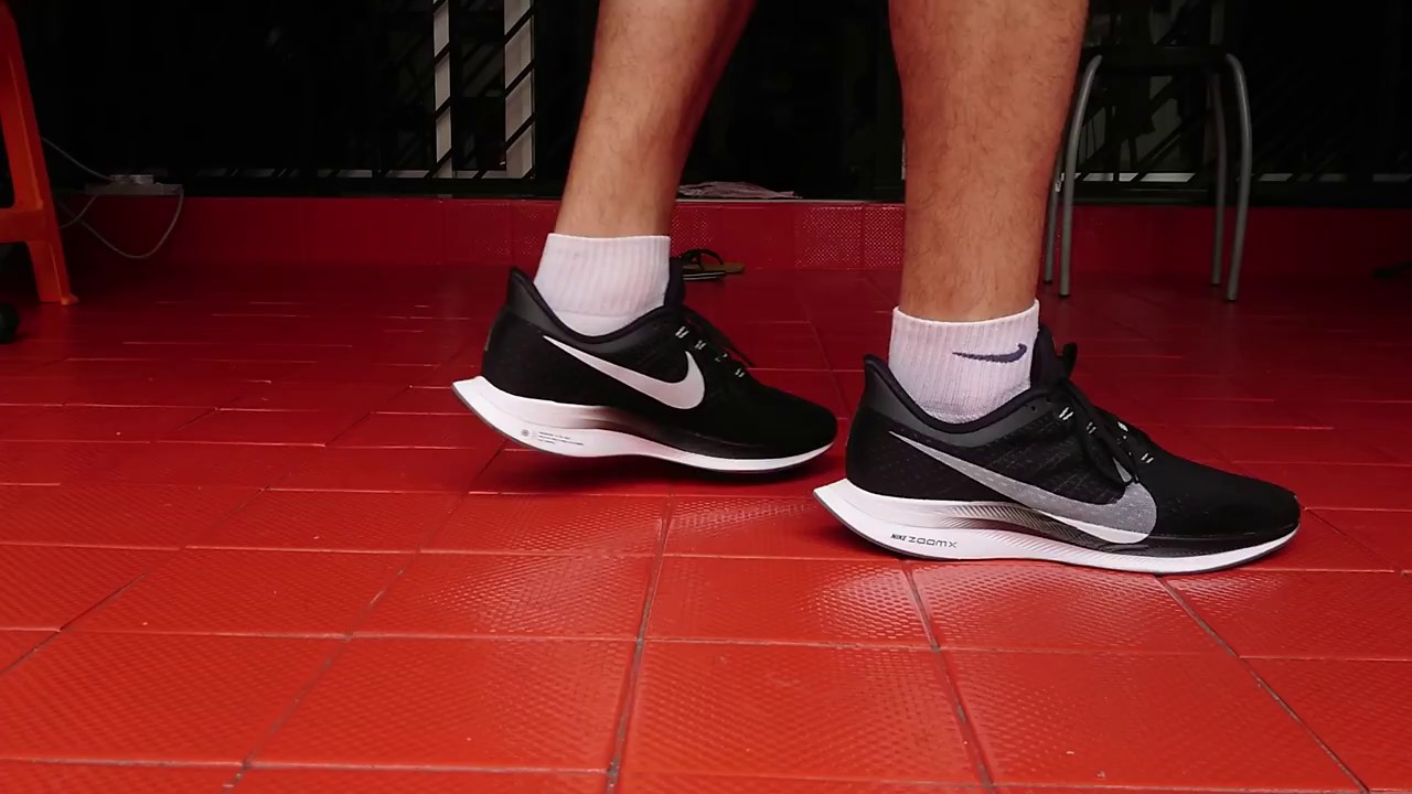 e599cc72b666a Nike Zoom Pegasus 35 Turbo on feet black colourway - YouTube