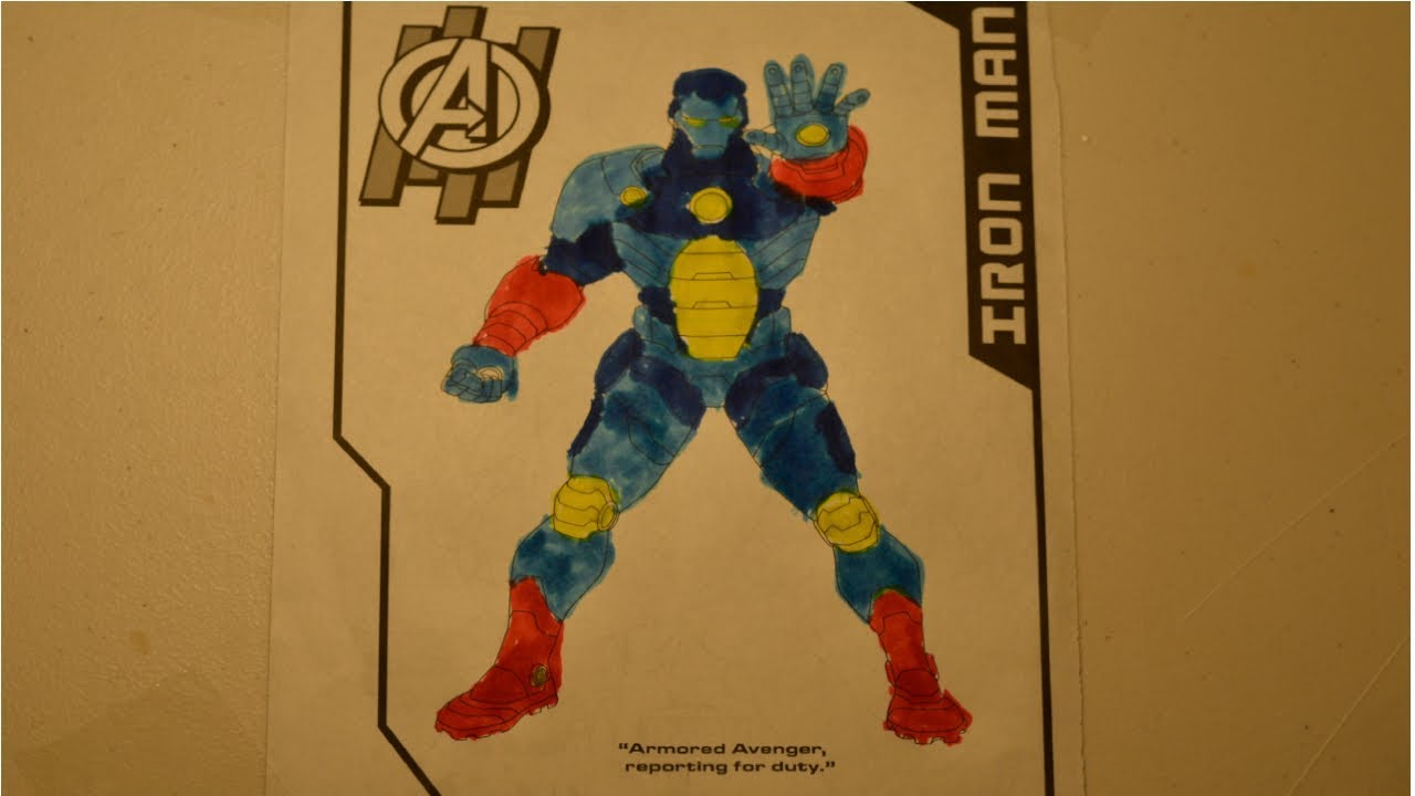 Avengers Endgame Coloring Pages Iron Man Blue and Yellow ...
