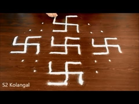 easy rangoli designs with 9 dots    9X3 dots kolam for pongal    easy sankranti muggulu