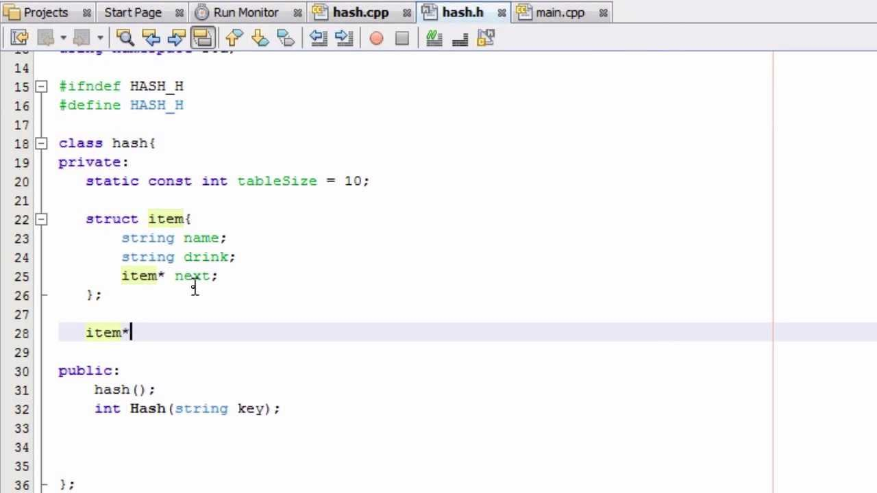 How to Create A Hash Table Project in C++ , Part 4 , Creating the Basic  Structure of the Hash Table
