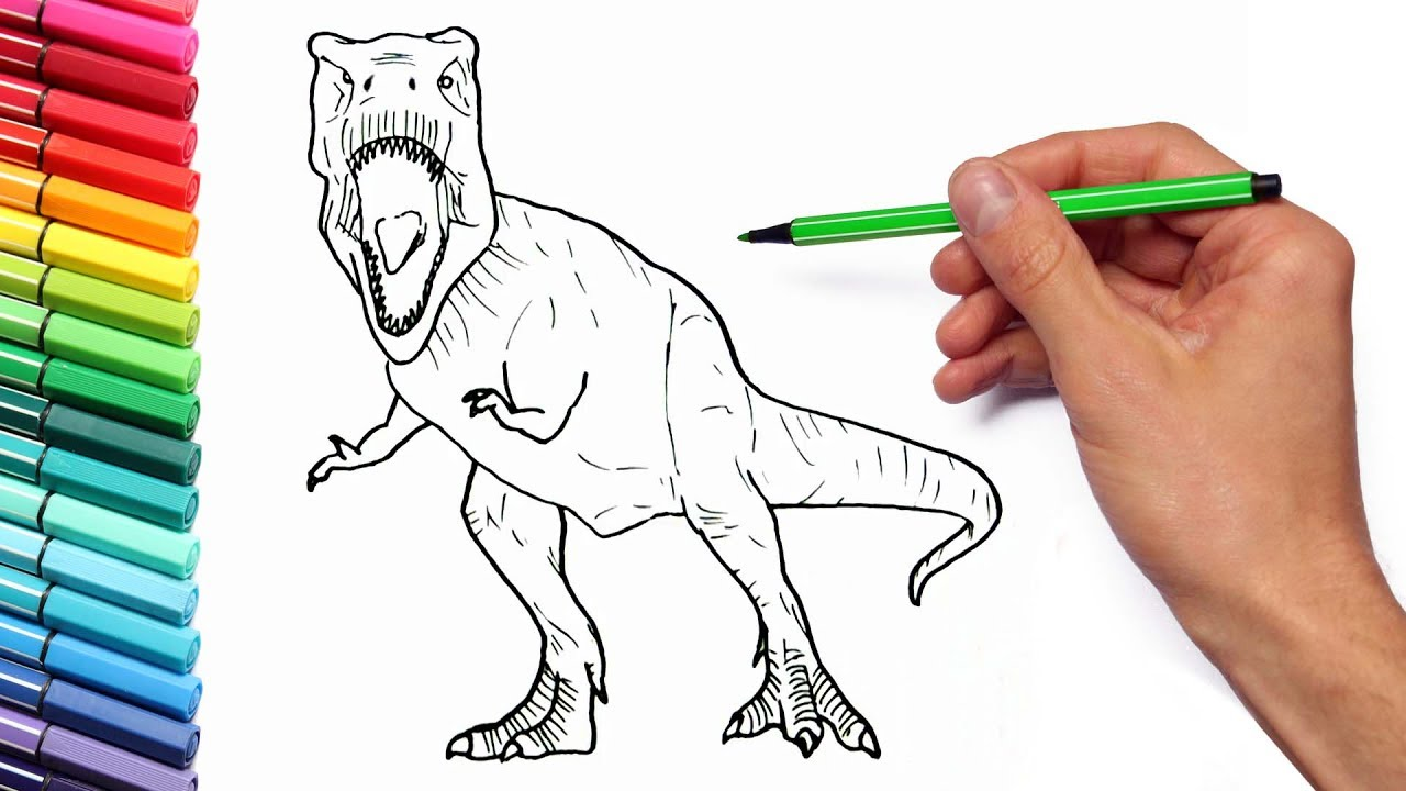 drawing and coloring tyrannosaur from jurassic world learning dinosaurs with color pages for kids - Lego Jurassic Park Coloring Pages
