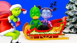 PJ Masks Gekko and Vampirina and Paw Patrol Marshall Catch The Grinch Santa Claus