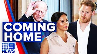 Prince Harry to leave US for Grandfathers funeral | 9 News Australia
