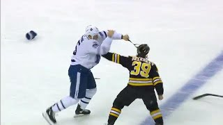 Martin shaken up in collision, returns and drops the mitts with Beleskey