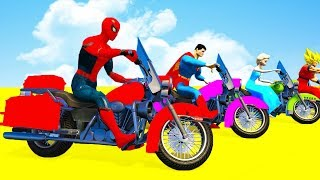 Learn Color for Kids Motorcycles w Animation Superheroes Cartoon for Children