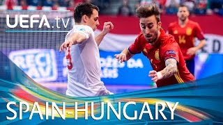 Futsal EURO highlights: Spain goals against Hungary(Highlights of Spain's 5-2 win against Hungary at UEFA Futsal EURO 2016. Subscribe: http://www.youtube.com/subscription_center?add_user=uefa Facebook: ..., 2016-02-02T23:10:32.000Z)