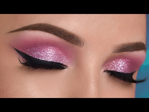 Pink Glitter Smokey Eye Makeup Tutorial