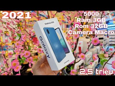 Trên tay Galaxy A02 giá chỉ 2,5M : pin 5000, Rom 32Gb, có camera Macro