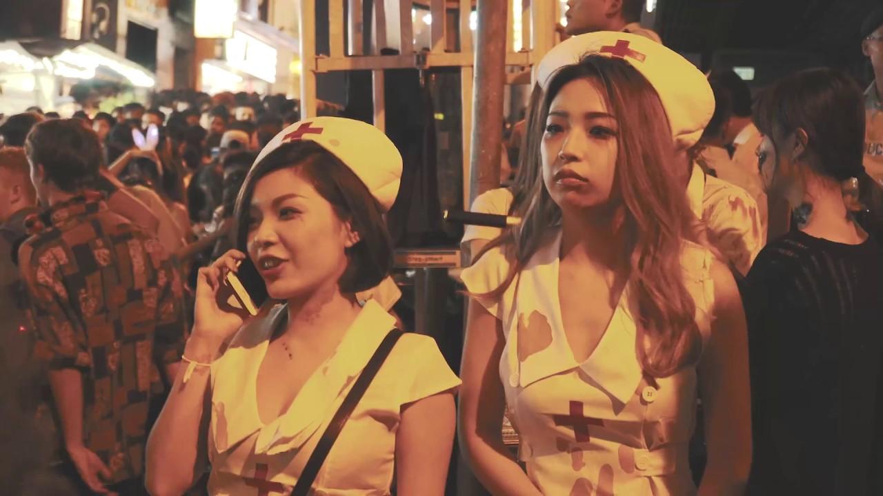 hong kong halloween 2017 in lan kwai fong 4k - youtube