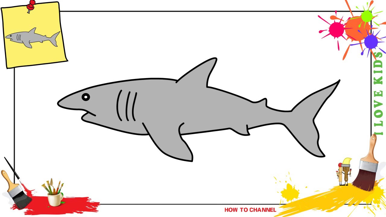 How To Draw A Shark 3 Easy Slowly Step By Step For Kids And