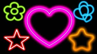 How to Draw NEON Heart And Star - NEON Drawing and Coloring BOOK