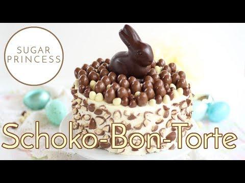 Schokobon-Torte Rezept/Ostertorte mit Nussbiskuit und Schoko-Eiern | Sugarprincess