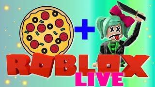 FESTA de PIZZA e assassinato sexta-feira! Roblox LIVE PvP jogos SallyGreenGamer