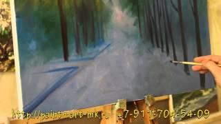 как нарисовать осенний пейзаж, как нарисовать осенний парк, видео урок живописи