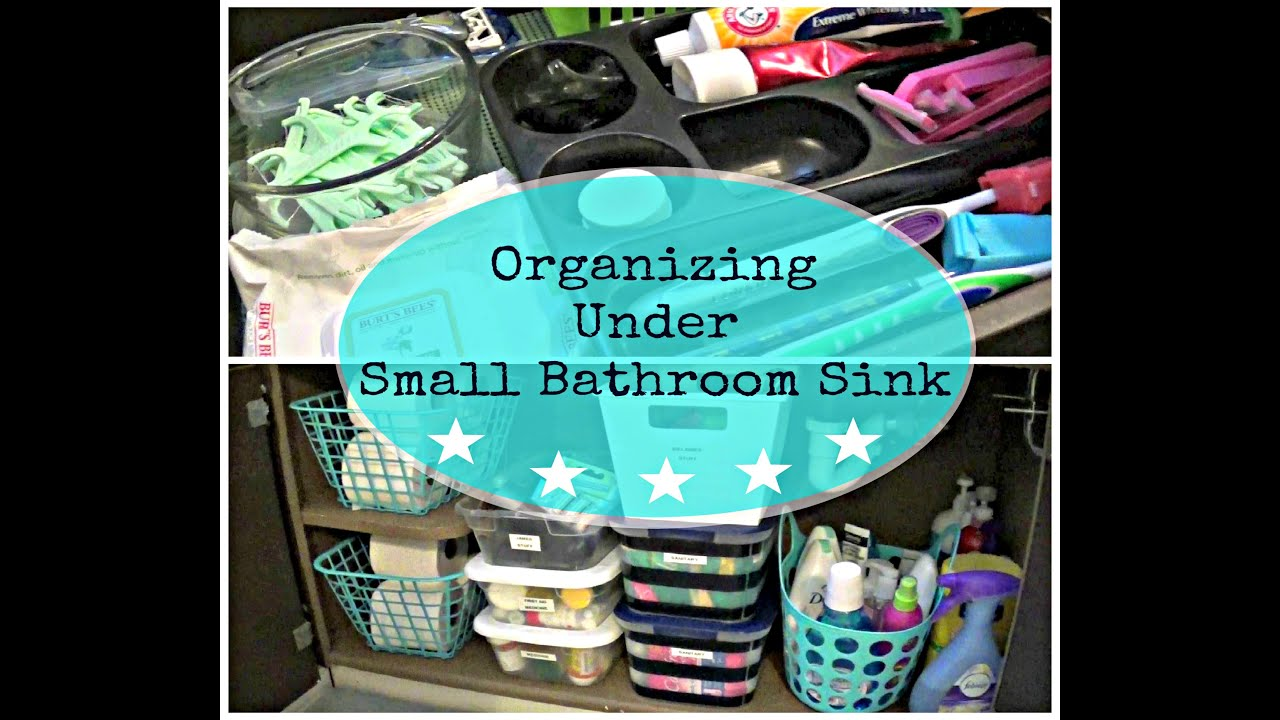 Bathroom storage ideas under sink - Organizing Under A Small Bathroom Sink Dollar Tree Storage