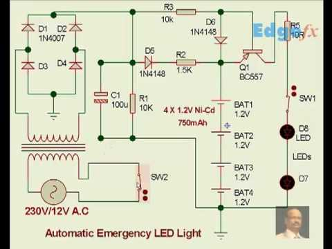 Automatic Emergency LED Light Circuit Diagram  YouTube