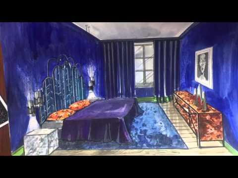 Эскиз спальни: акварель, маркеры, диджитал