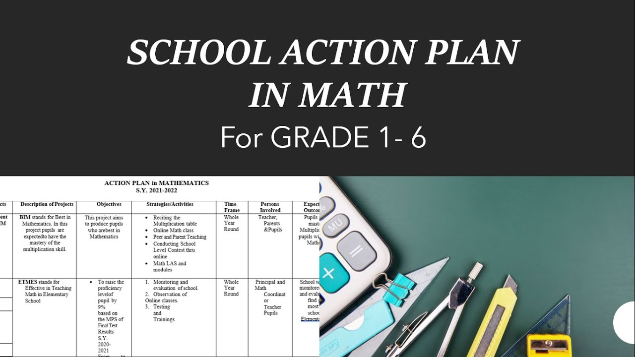 Sample of School Action Plan in Math for Grade 1 to 6