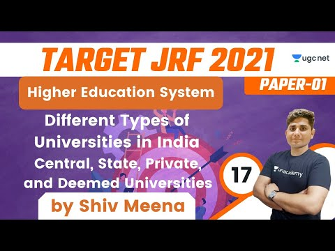 08:30 AM - Target JRF 2021 | Higher Education by Shiv | Different Types of Universities in India