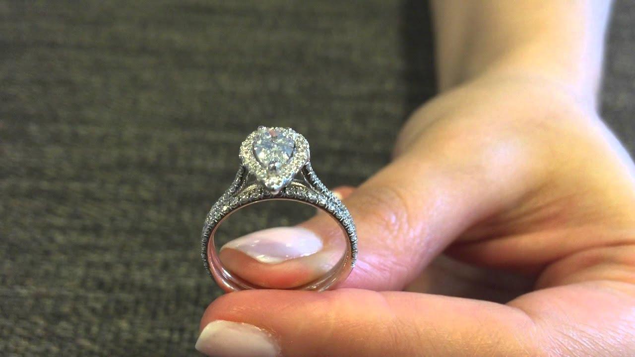 132CTW PEAR GIA G VS2 Diamond Engagement Ring Wedding Band Set