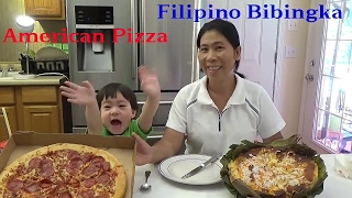 Trying Filipino Food | John and his mommy compare Filipino Food to American Food pizza bibingka