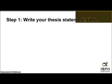 Writing a Thesis Statement: Step 1