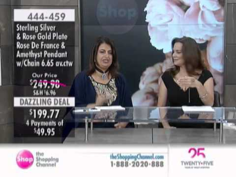 Sima K Sterling Silver Rose Gold Plate Amethyst & Rose De France Pendant at The Shopping Channel ...