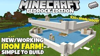 Minecraft Bedrock: IRON FARM! Simple/Working! 420+ Iron/Hour! 1.16 Nether Update Tutorial