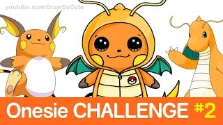 Pokemon CHALLENGE - How to Draw Raichu in Dragonite Onesie step by step CUTE