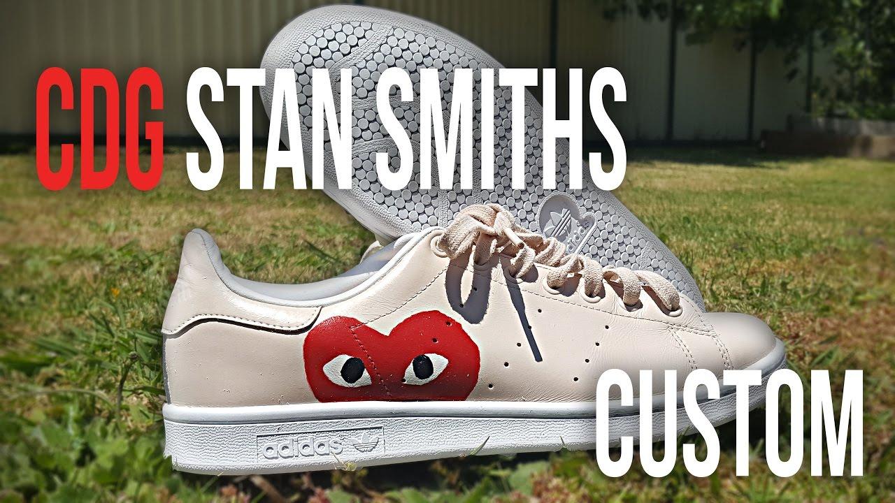 CDG Stan Smiths Custom - YouTube bc25f8f6d