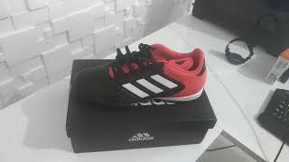 025592303f Chuteira society adidas copa 18.3 TF Preto e vermelho