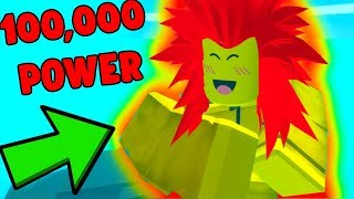 ROBLOX SAIYAN SIMULATOR *WORLD RECORD 100,000 POWER LEVEL*