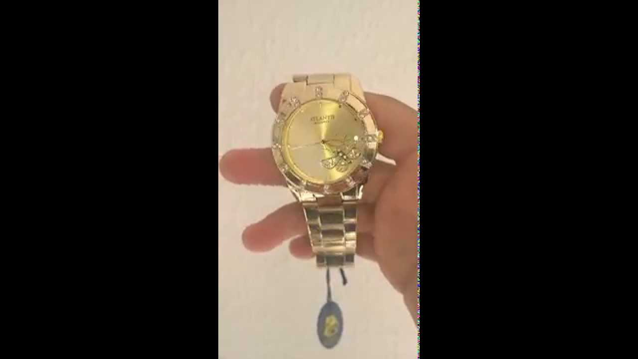 d7a8bdfe7bd Relógio Feminino Atlantis com borboleta (Fundo Amarelo) - YouTube