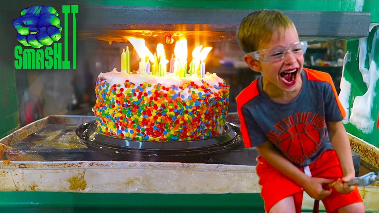 Smash Birthday Cake Crushing Birthday Party Cake Hydraulic Press