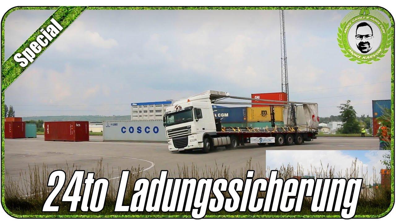 Ladungssicherung Test Brems- Und Kurvenfahrt 24to Stahlbleche ...
