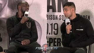 "TERENCE CRAWFORD TELLS AMIR KHAN TO HIS FACE ""YOU DIDNT QUIT? SO WHAT HAPPENED?"""