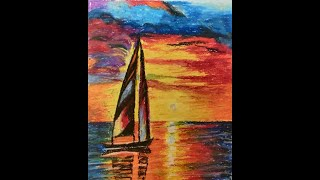 Paint Sunset scene of a boat sailing in the Sea | Oil Pastels Drawing | How to create reflection